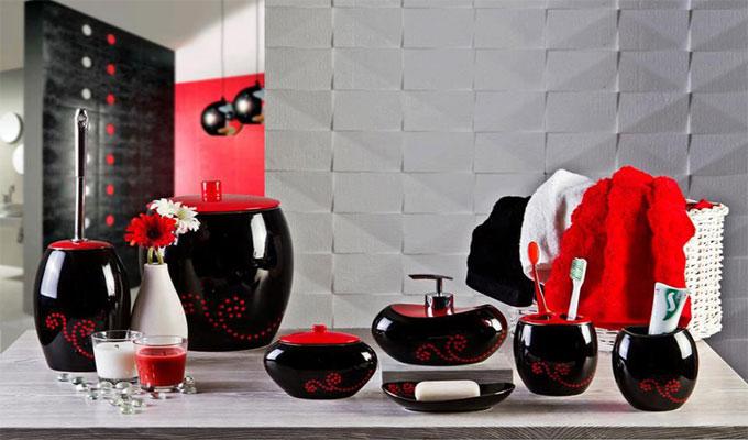 Net shopping en mode accessoires de bain for Salle de bain noir et rouge