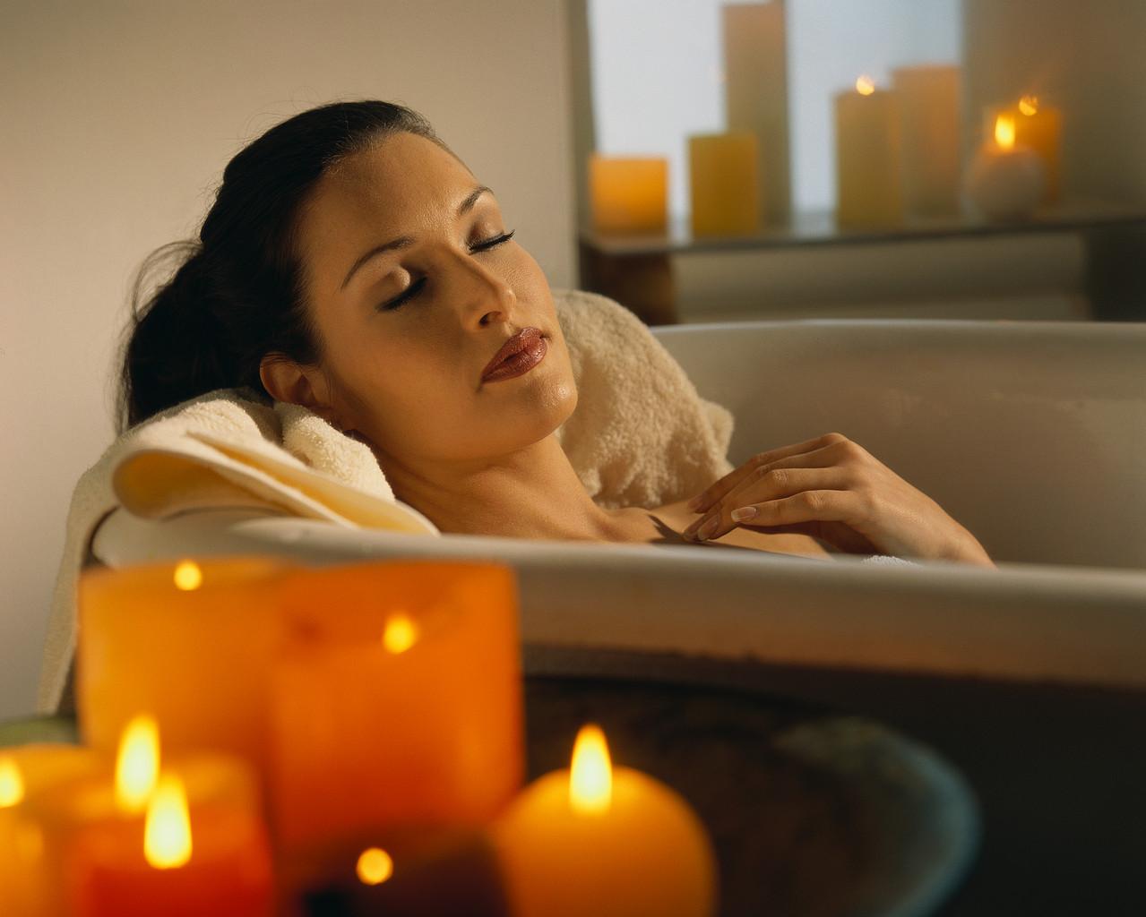 Woman Resting in Bath