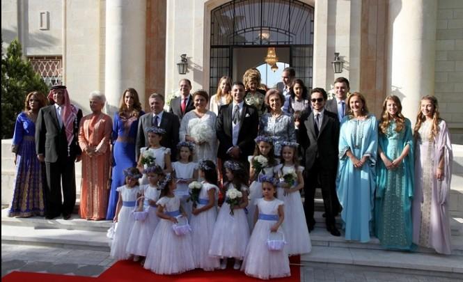 Photo de la famille royale avec les mariés