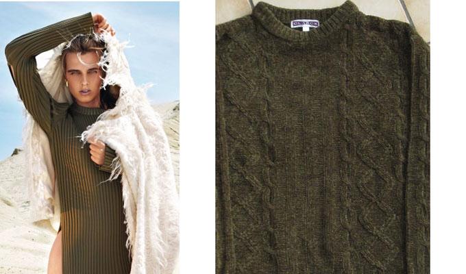 A Gauche : Robe en viscose  Céline, A gauche : pull en laine des milices